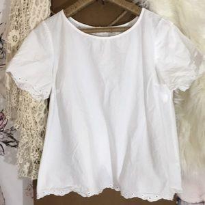 Adorable White Lace Back Button Up Cotton Top